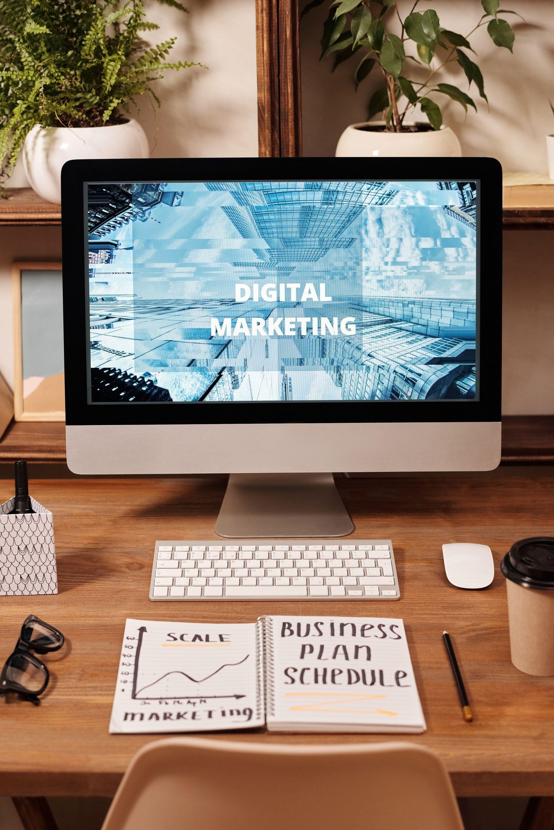 digital marketing on a laptop